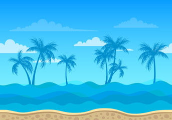 Vector Sea Background with Palm Trees