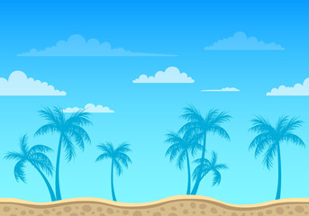 Vector Unending Beach Background with Palm Trees