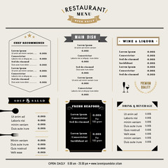 Restaurant Menu Design Template layout Vintage style