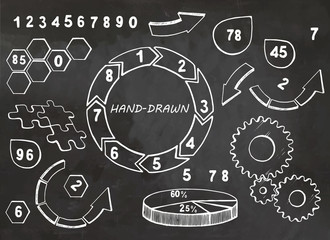 Set of hand drawn business elements. Vector