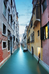 Canal in Venice, Italy at night.