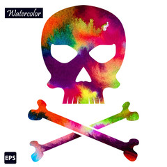 Poster Crâne aquarelle Vector watercolor skull icon for your business.