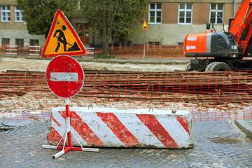 road repair signs