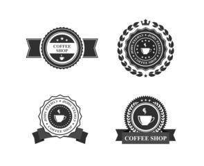 coffee shop emblem label set