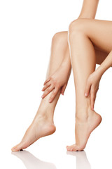 Skin care - legs. (Smearing Cream) - Stock Image