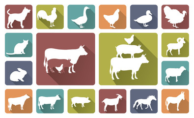 farm animals silhouettes isolated on white