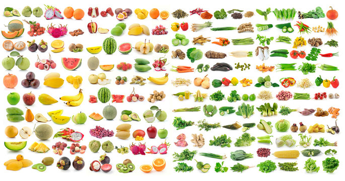 set of vegetable and fruit on white background
