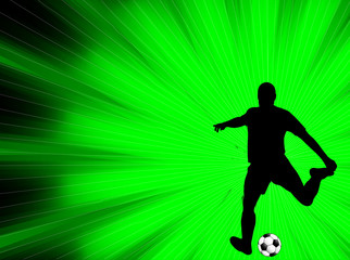 soccer player silhouette on the abstract background - vector