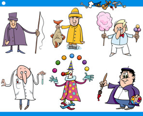 cartoon people occupations characters set
