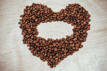 Heart from Coffee beans. roasted beans in shape of heart