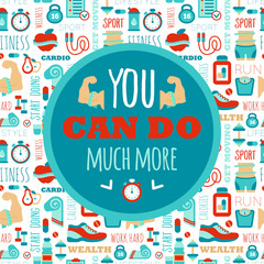 You can do much more phrase on fitness seamless pattern