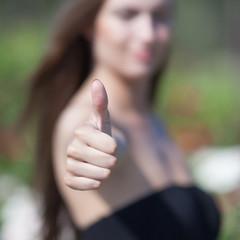 Close up of thumb up