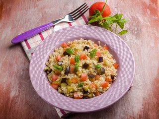risotto with eggplant and fresh tomatoes