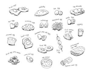variety egg menu hand drawing illustration
