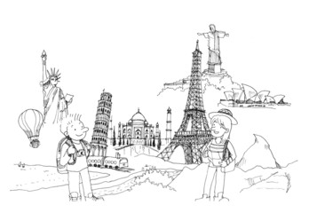 man and woman travel around the world concept illustration