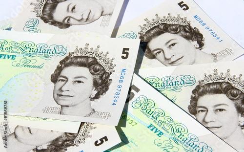 Billets De 5 Livre Sterling Monnaie Anglaise Stock Photo
