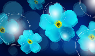 vector background with flowers and circles