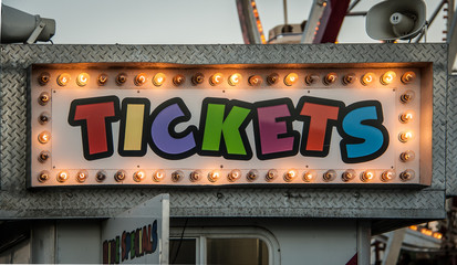 neon ticket sign