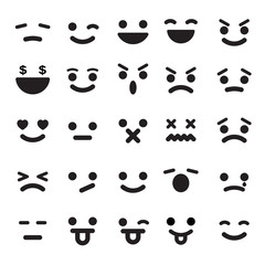 Smiley faces icons set