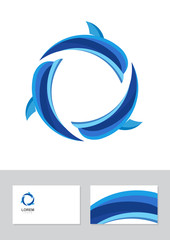 Vector dolphin icon design element with business card template.