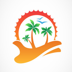 Green palm tree and sun on hand. Abstract design concept for tra