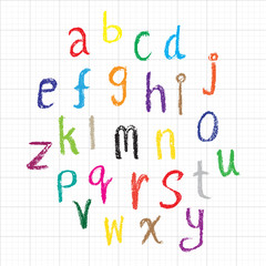 Child drawing of alphabet font made with wax crayons