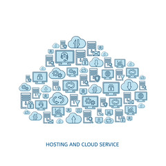 Hosting, network and cloud service icons