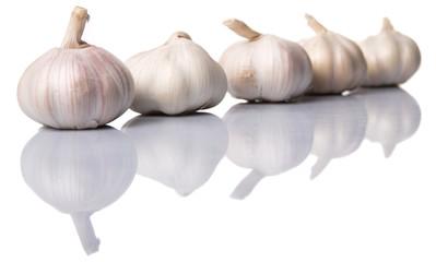 Garlic over white background