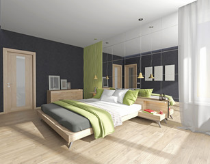 bedroom interior with mirror