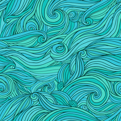 Tangle wavy hair clouds seamless background