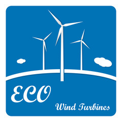 Ecology poster or flyer with wind turbines on blue background