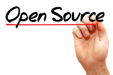 Hand writing Open Source with marker, business concept
