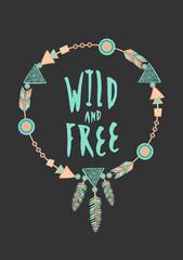 Tribal Frame Typographic Design