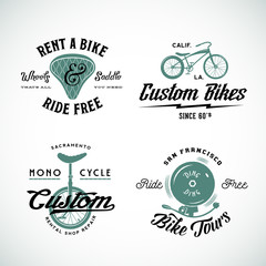 Set of Vector Retro Bicycle Custom and Rental Labels or Logo
