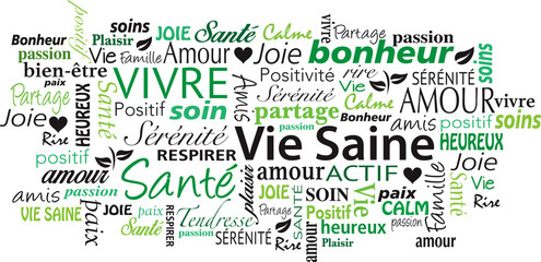 french Healthy Lifestyle word cloud collage vector illustration