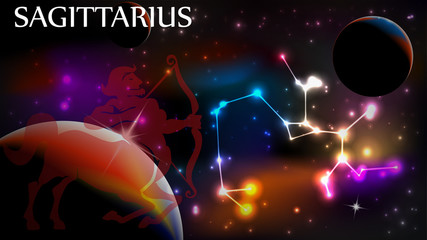 Sagittarius Astrological Sign and copy space