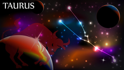 Taurus Astrological Sign and copy space
