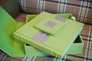 green leather wedding photo book album