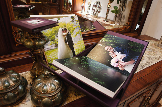 plum velvet wedding photo book album
