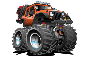 Jeep 4X4 Off Road Vehicle Cartoon Illustration