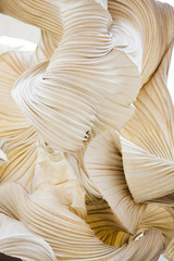 Abstract shapes of a paper ornamental object, like a sculpture