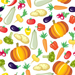 Cartoon vegetables pattern seamless