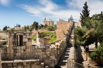 The Ramparts Walk and the Dormition Abbey in Jerusalem