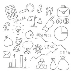 Set of business and finance elements