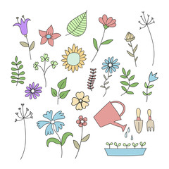 Set of doodle flowers and plants