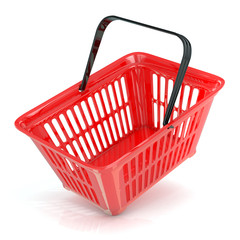 Red shopping basket, side view. Concept of buying