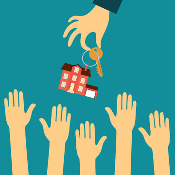 hand real estate agent holding holds a key with a tag in the