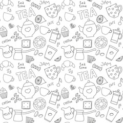 Doodle pattern with tea, cups and sweets