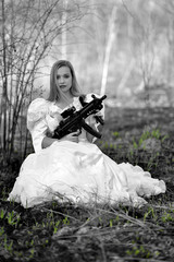 Bride with gun.