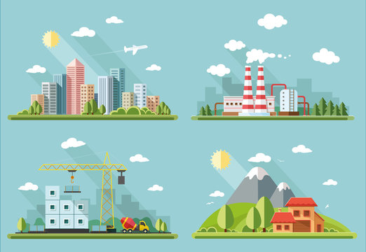 icons set. large city , country house, farmhouse on a background
